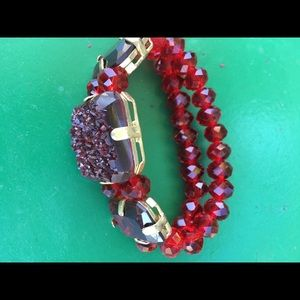 Jewelry - Faux rocks and crystals stretchy bracelet